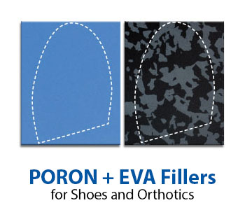 PORON and EVA fillers used for shoe and orthotics repair